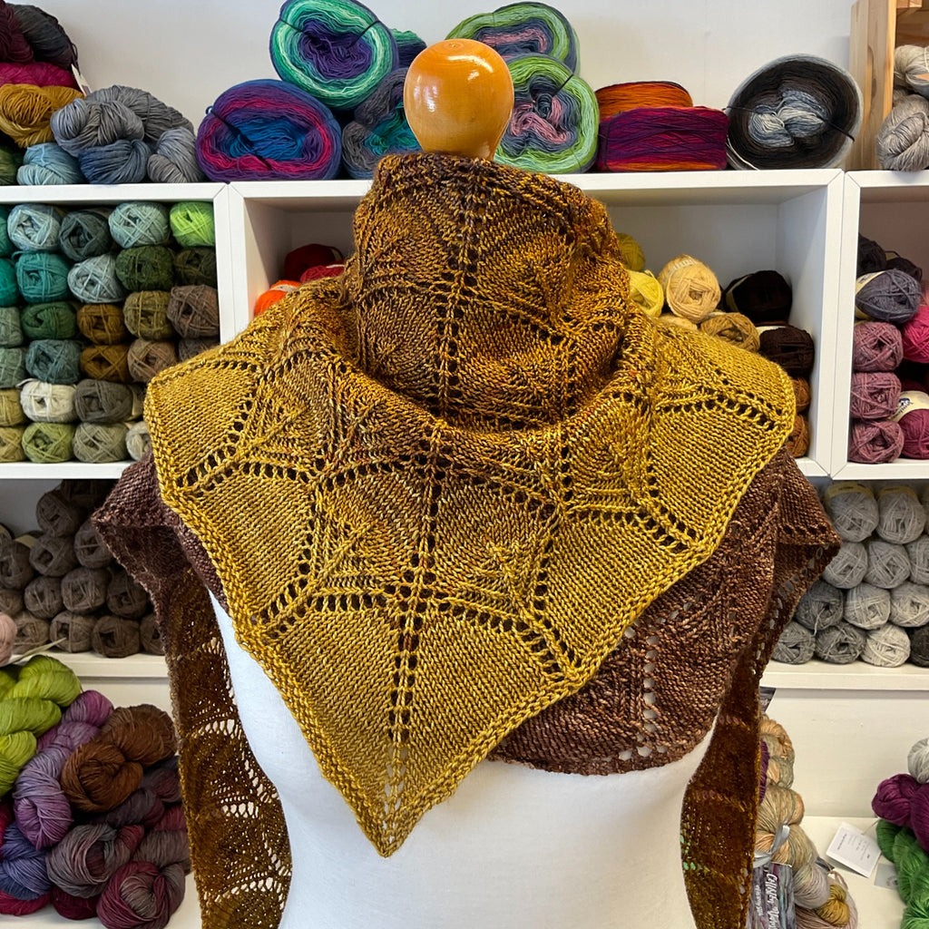 fantoosh large lace shawl in bronze and gold shades
