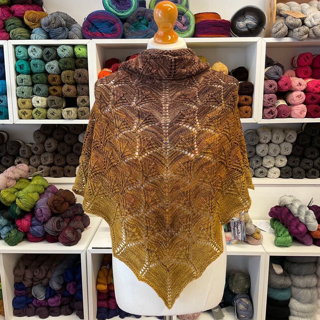 Fantoosh lace shawl in shades of bronze and gold