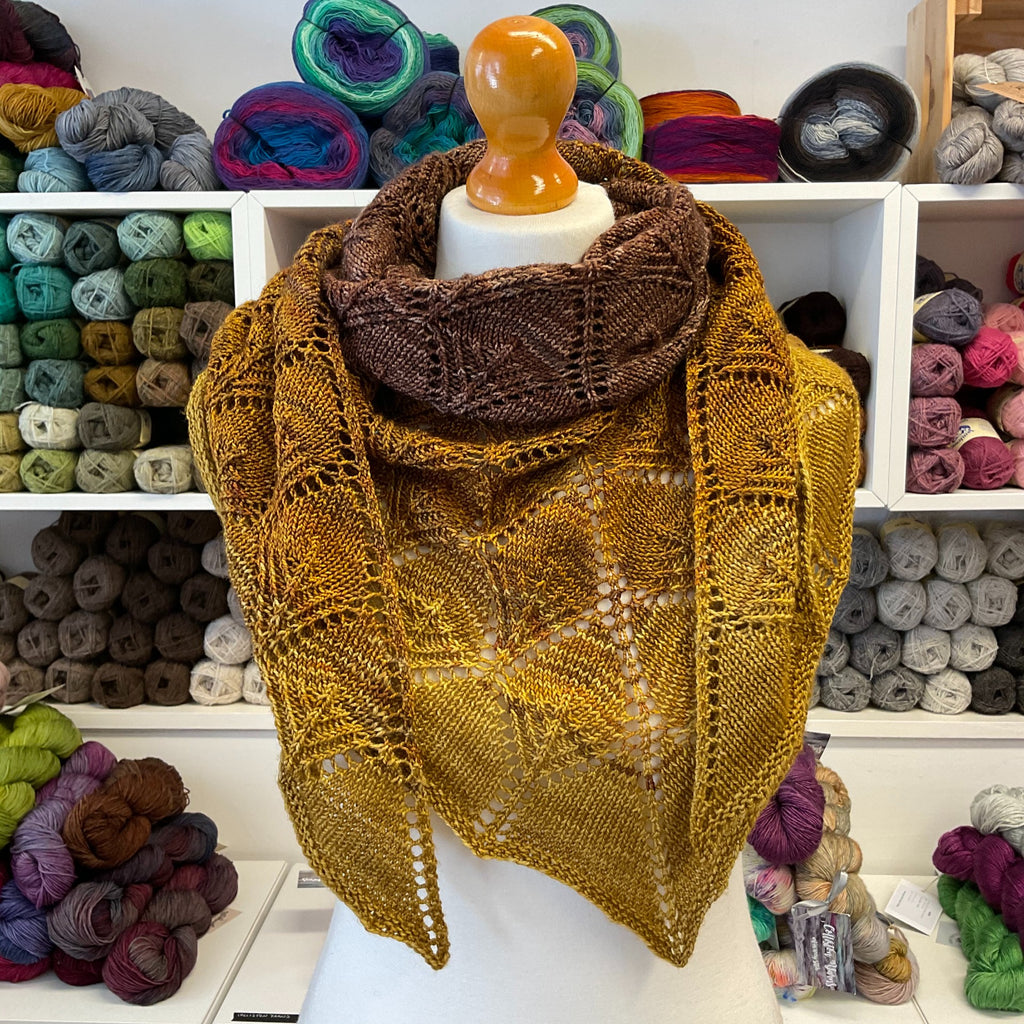 fantoosh large lace shawl in bronze gold shade wrapped