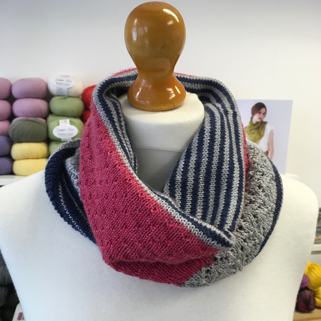 Joji Locatelli 3 color cashmere cowl in socks yeah at The Woolly Brew