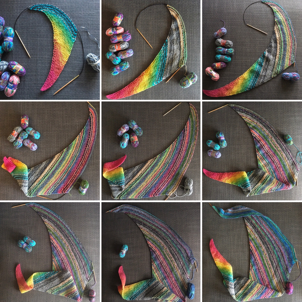 step by step knitting images of asymmetrical scarf at the woolly brew