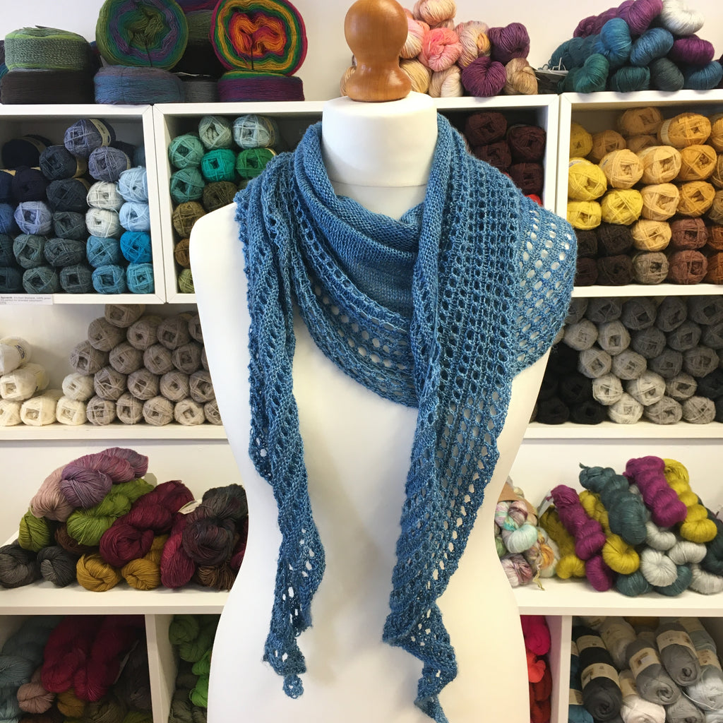 simple gleem shawl at the woolly brew