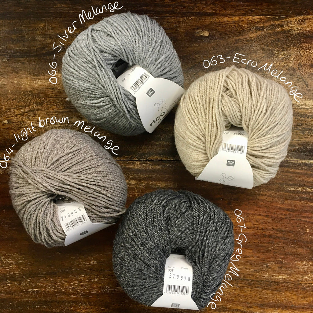 4 balls of Rico Classic Baby DK in shades of brown and grey