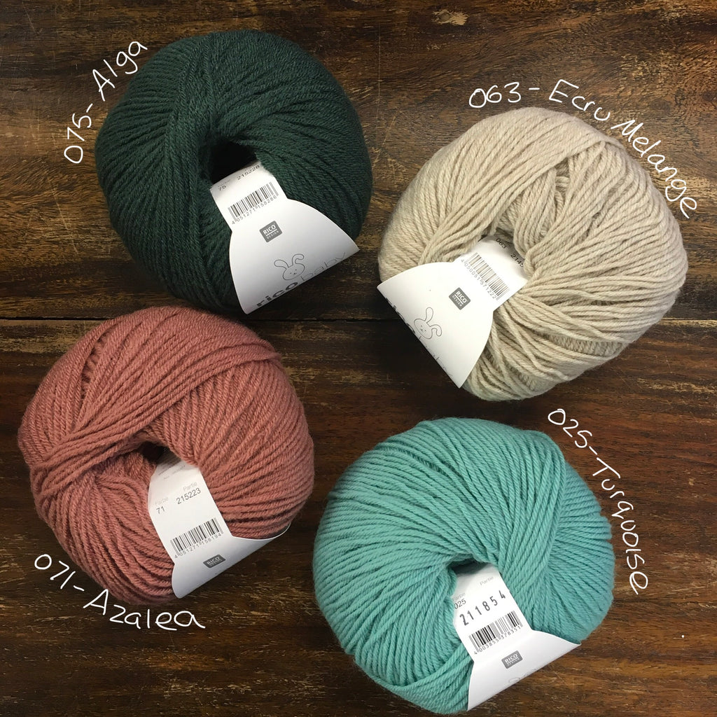 4 balls of Rico Baby Classic DK in pine green, dark dusty rose, turquoise and beige