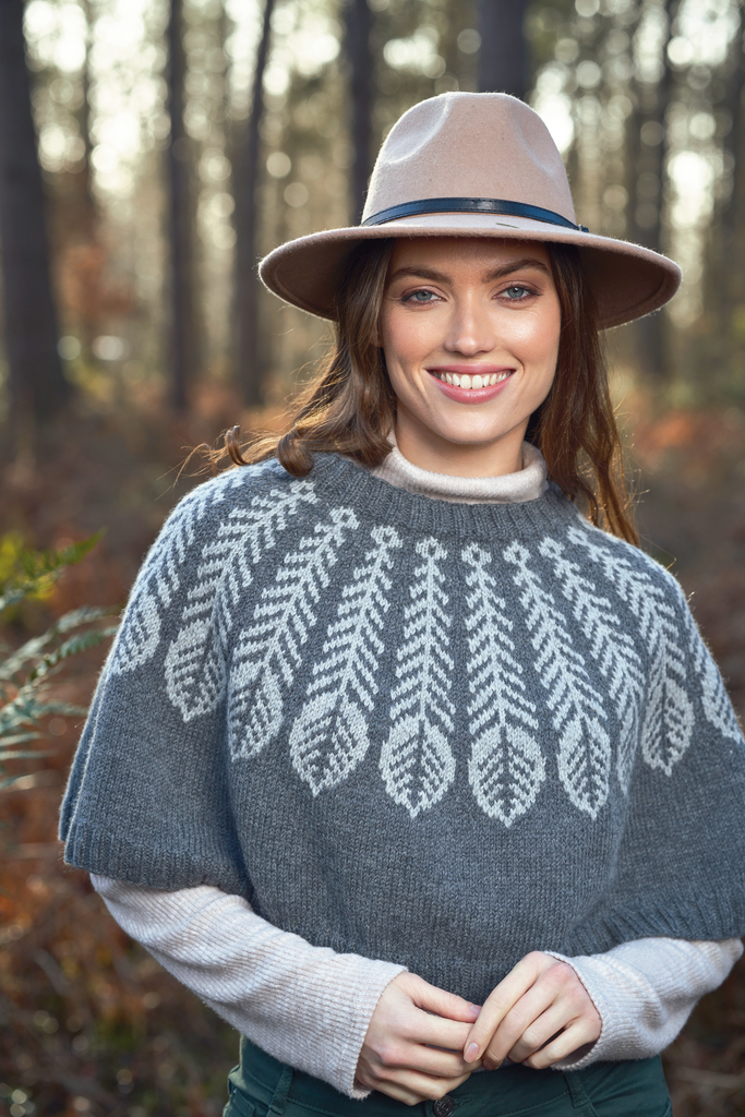 plume poncho knitting pattern by martin storey at the woolly brew