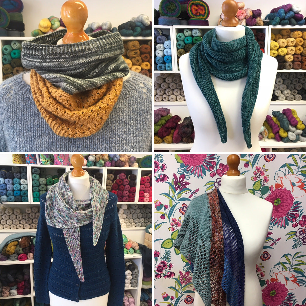 4 knitting patterns - cowl, scarf and shawls