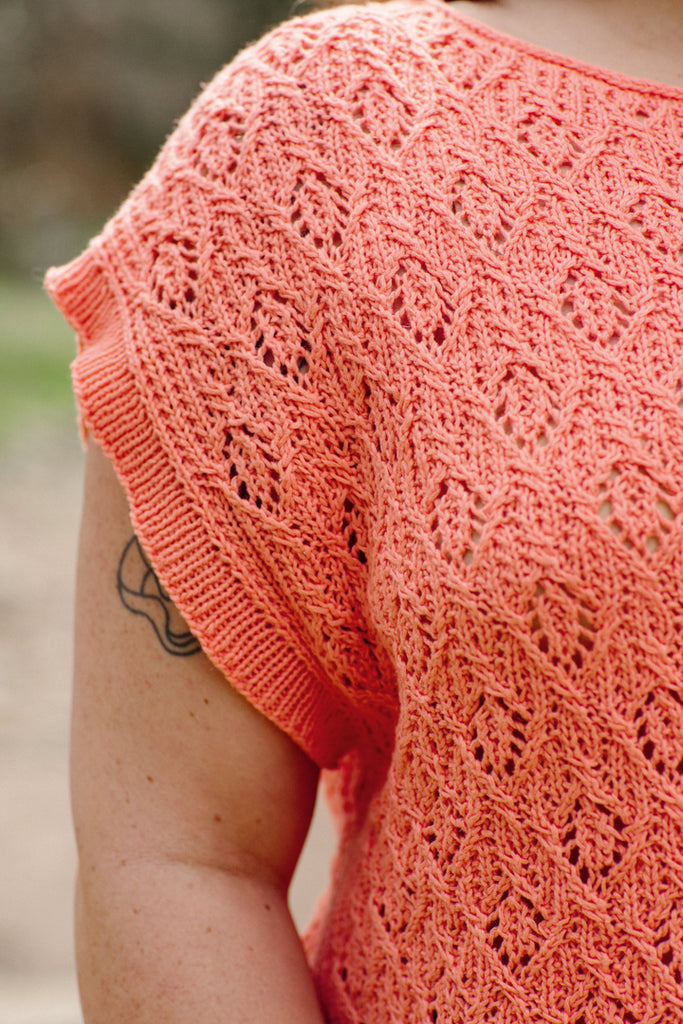 coral orange knitted lacework
