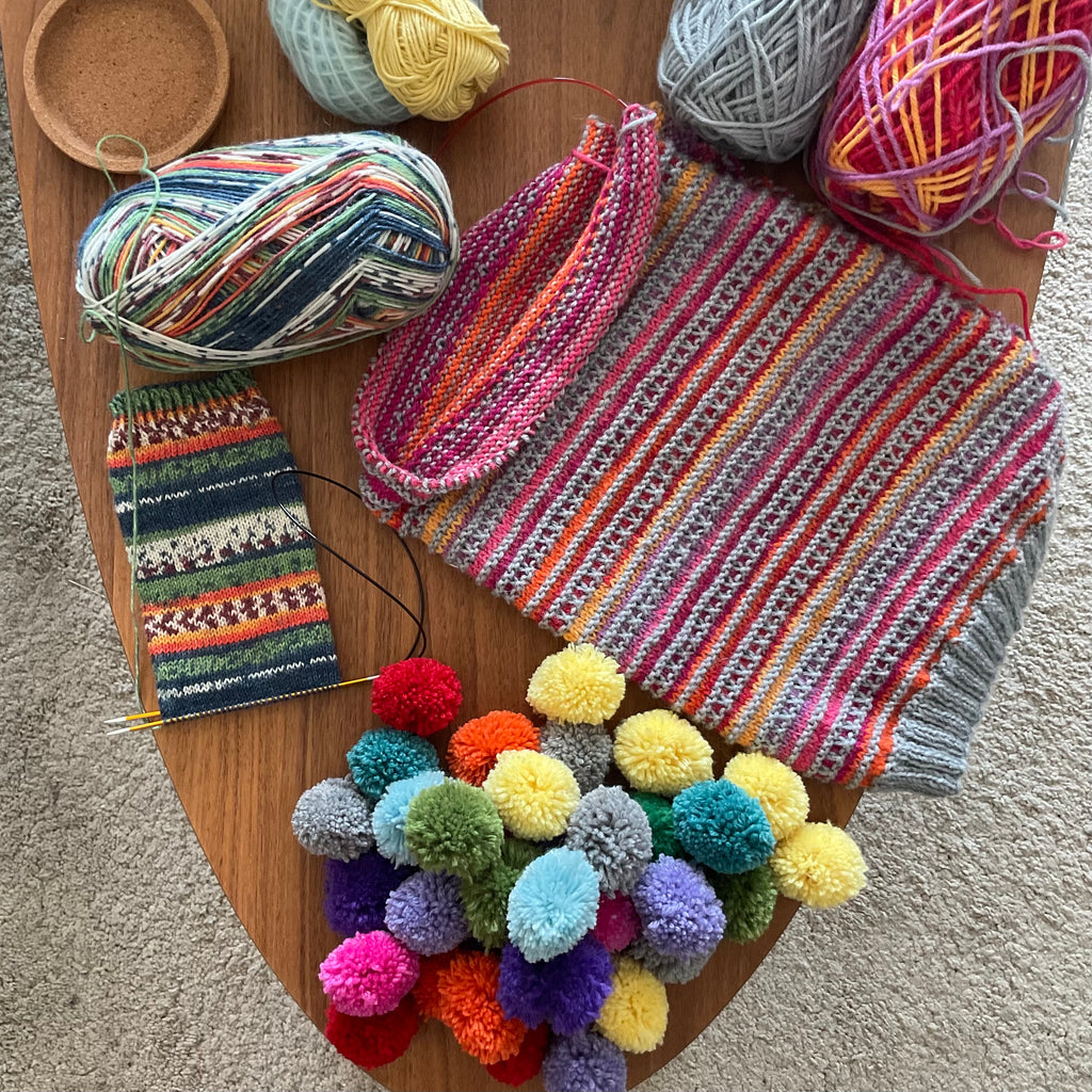 coffee table with knitting projects