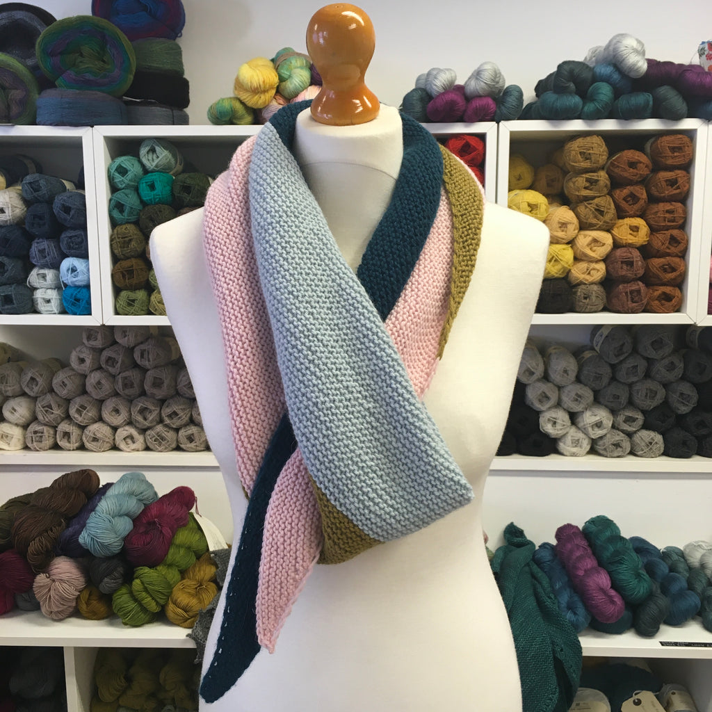 The Woolly Brew Colour Block Scarf free DK knitting pattern