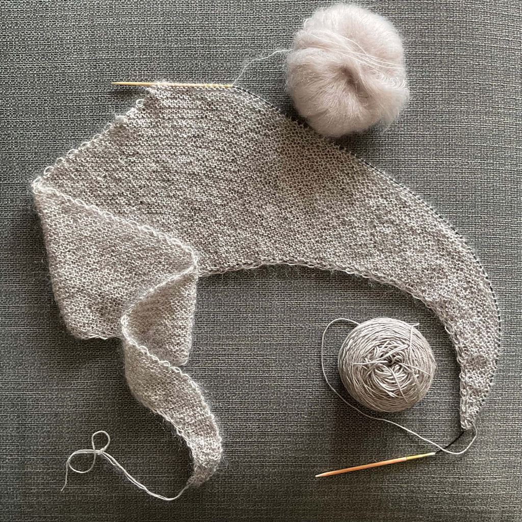 light weight shawl in fluffy mohair