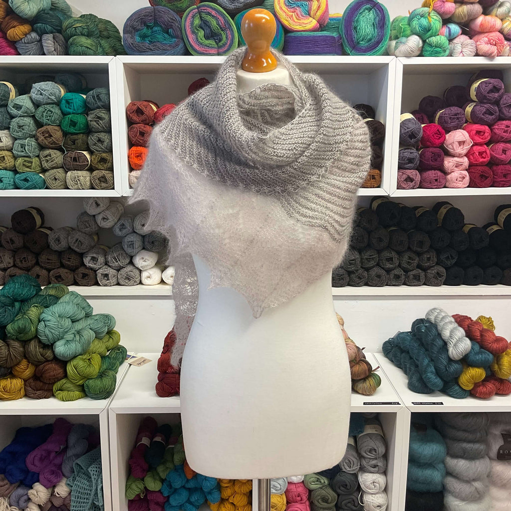 handknit shawl in light browns and pearls
