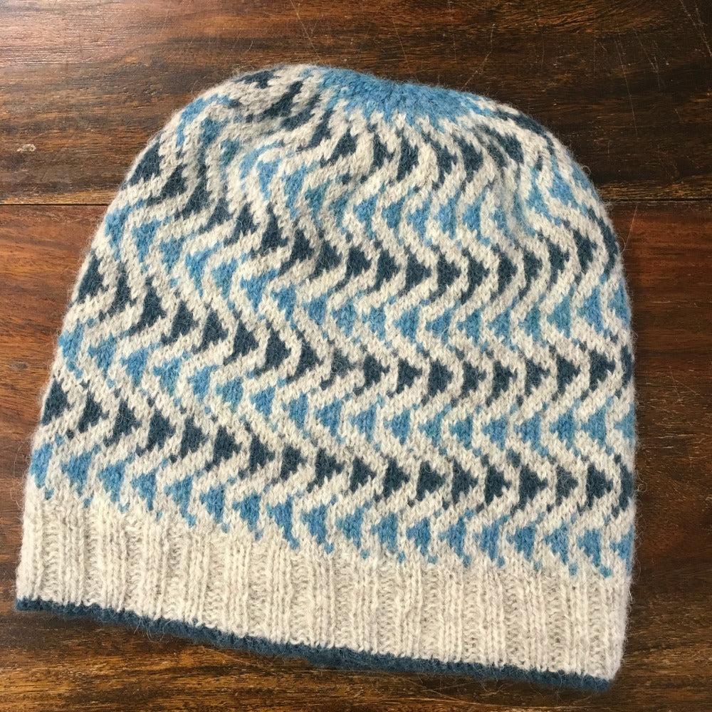 colour work hat in blues