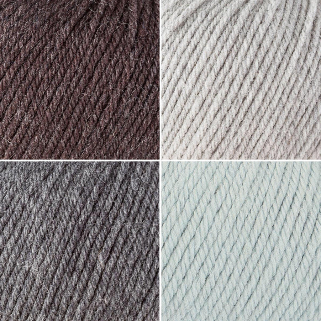 Rowan Alpaca Soft in shades of Classic Brown, Rainy Day, Charcoal, Baby Blue