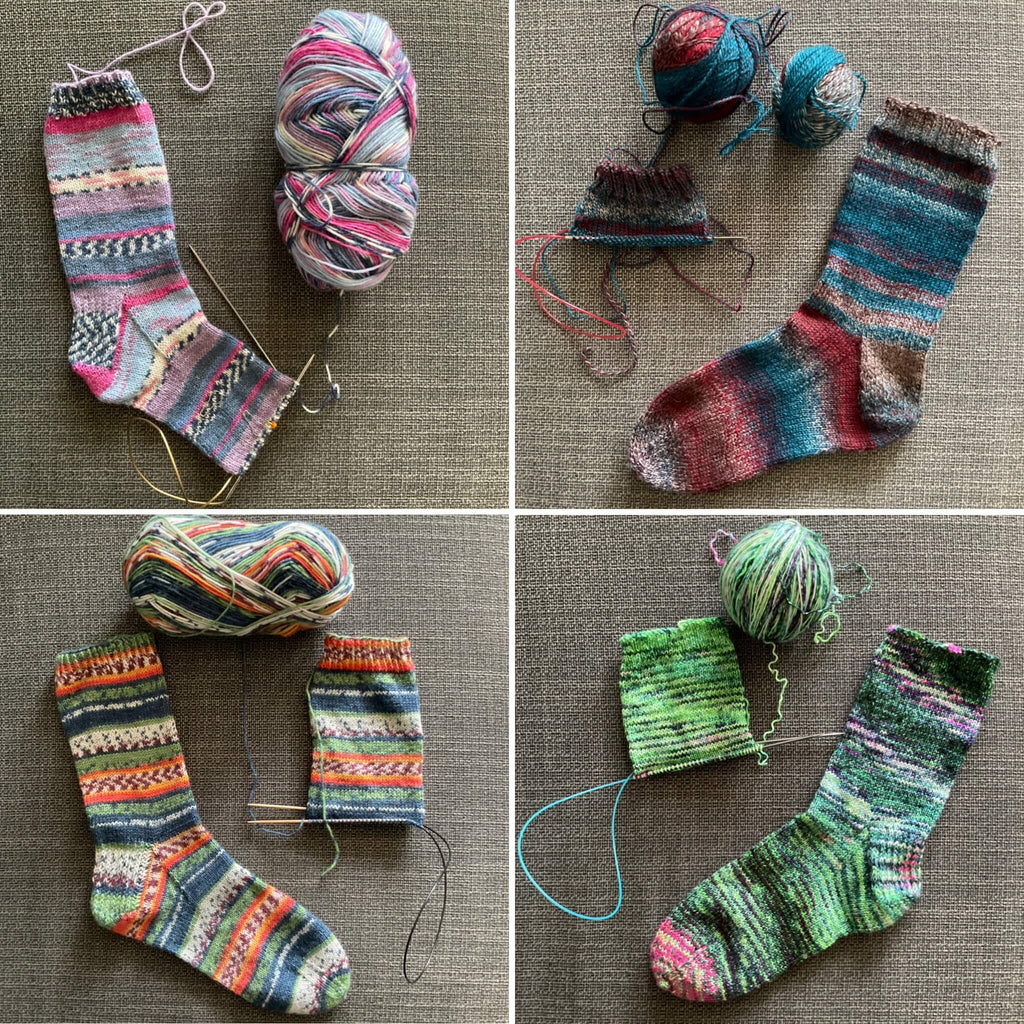 4 unfinished pairs of handknit socks