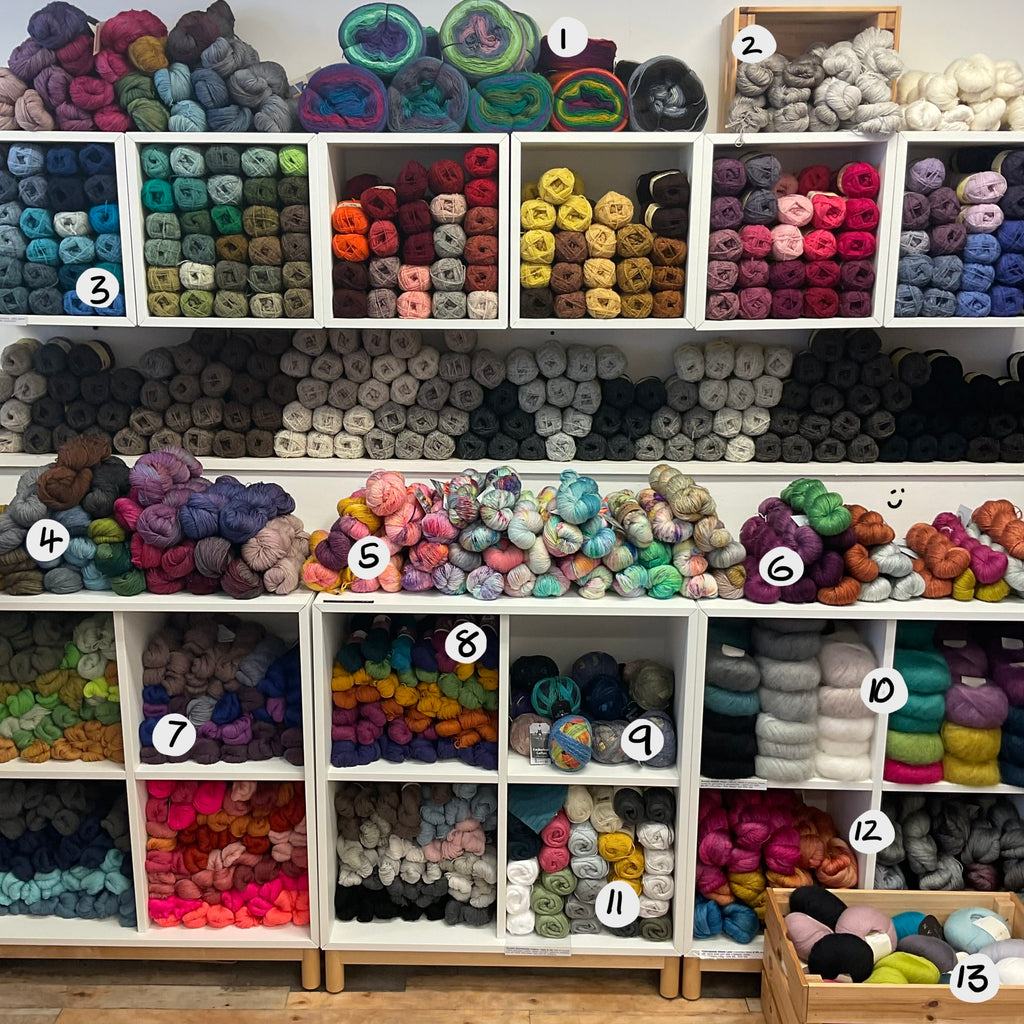 wall of finer yarns in lots of colours