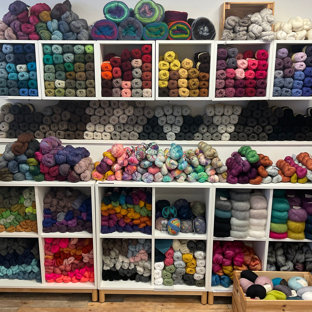 4ply and laceweight yarns at the woolly brew