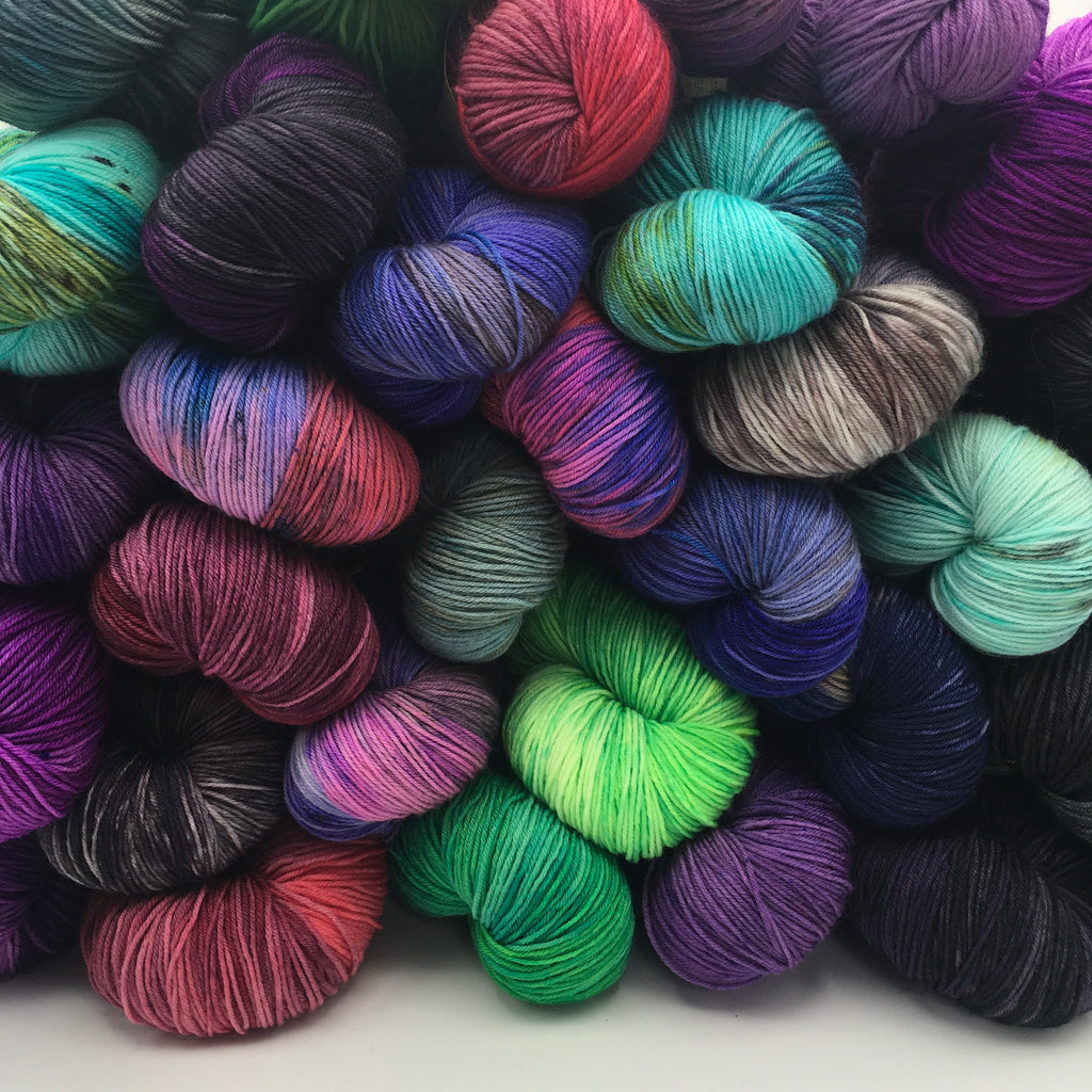 pile of multi coloured hand dyed yarn