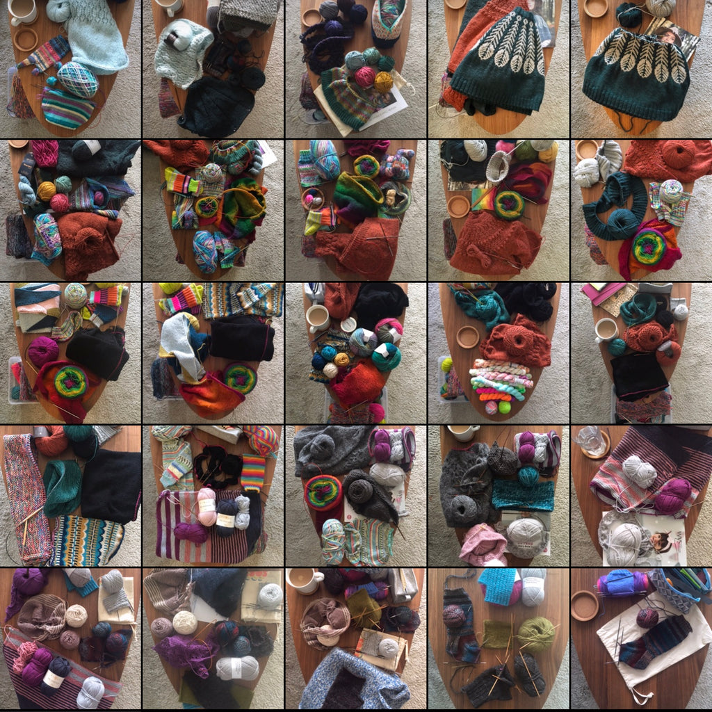 grid of photos of a coffee table filled with knitting projects