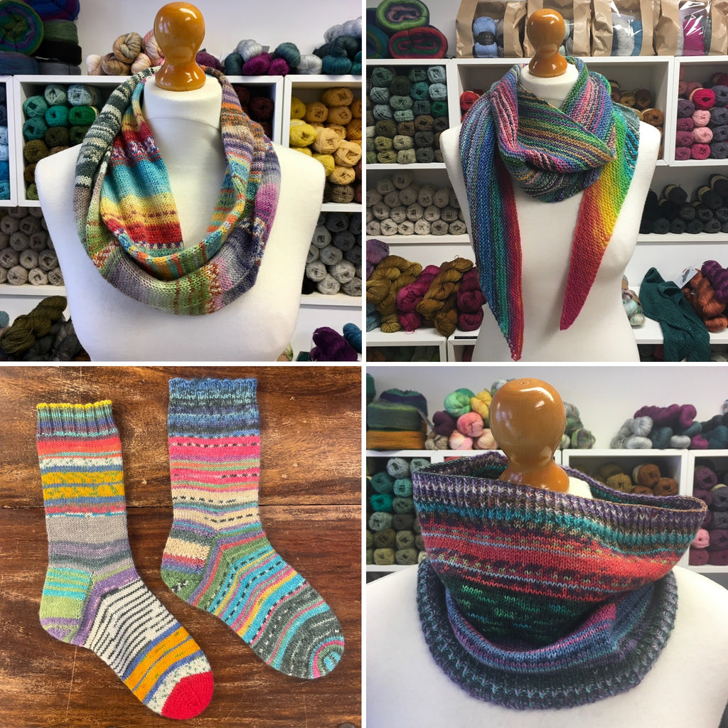 cowls, scarves and socks in small amounts of leftover multicoloured yarn
