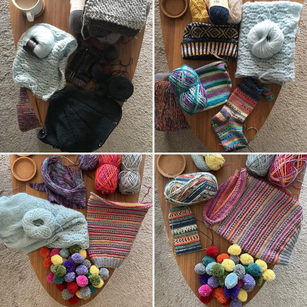 unfinished knitting projects on a coffee table