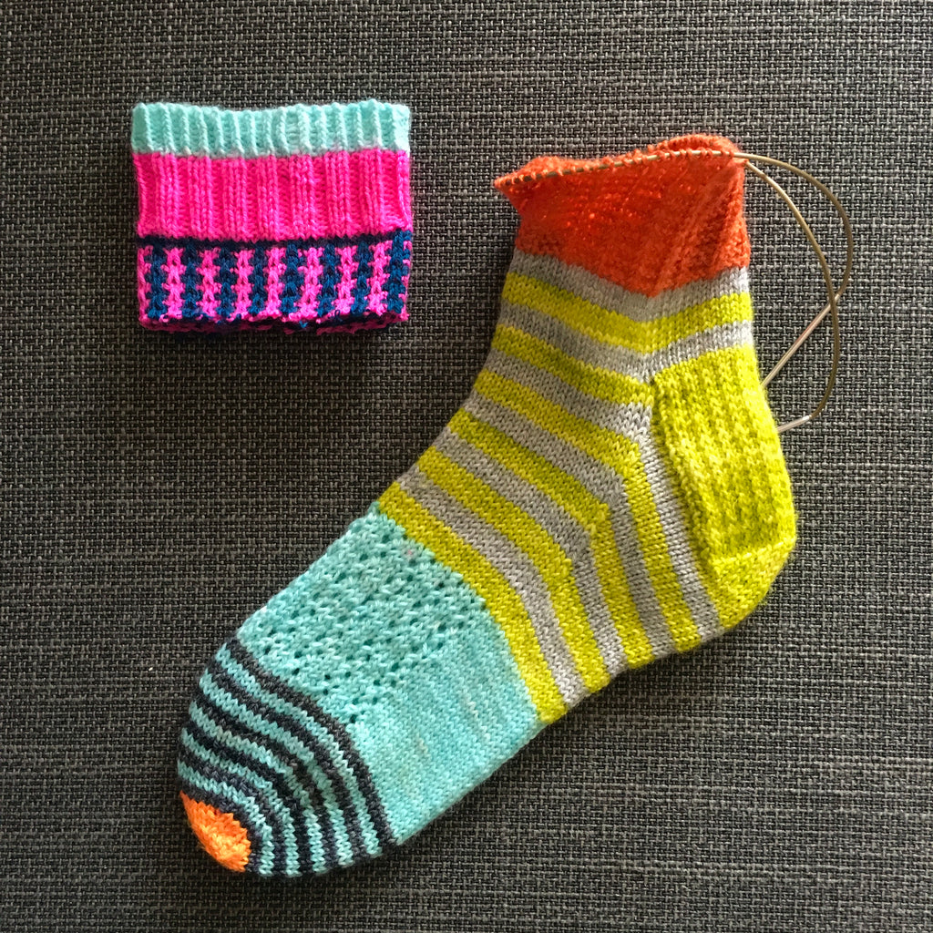 scrappy brightly coloured sock with the top cut off