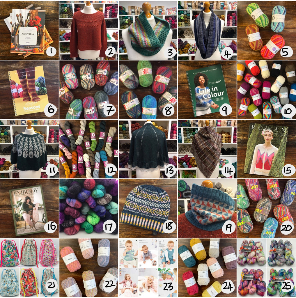 lots of yarn, patterns and knitted samples