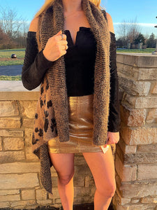 Brown Leopard Cardigan Vest
