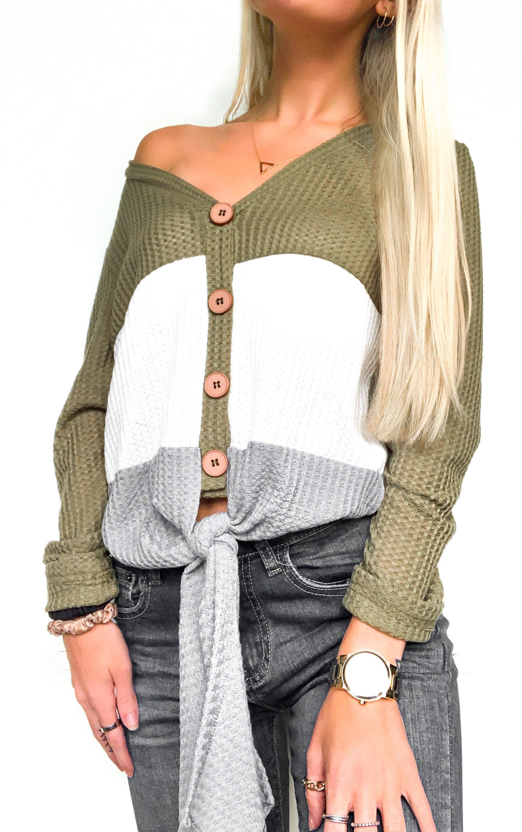 Color Block Front Tie Long Sleeve Top - Green