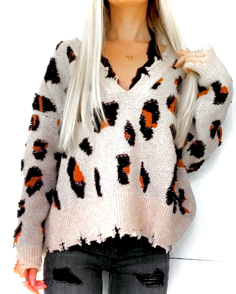 Leopard Distressed V-Neck Sweater