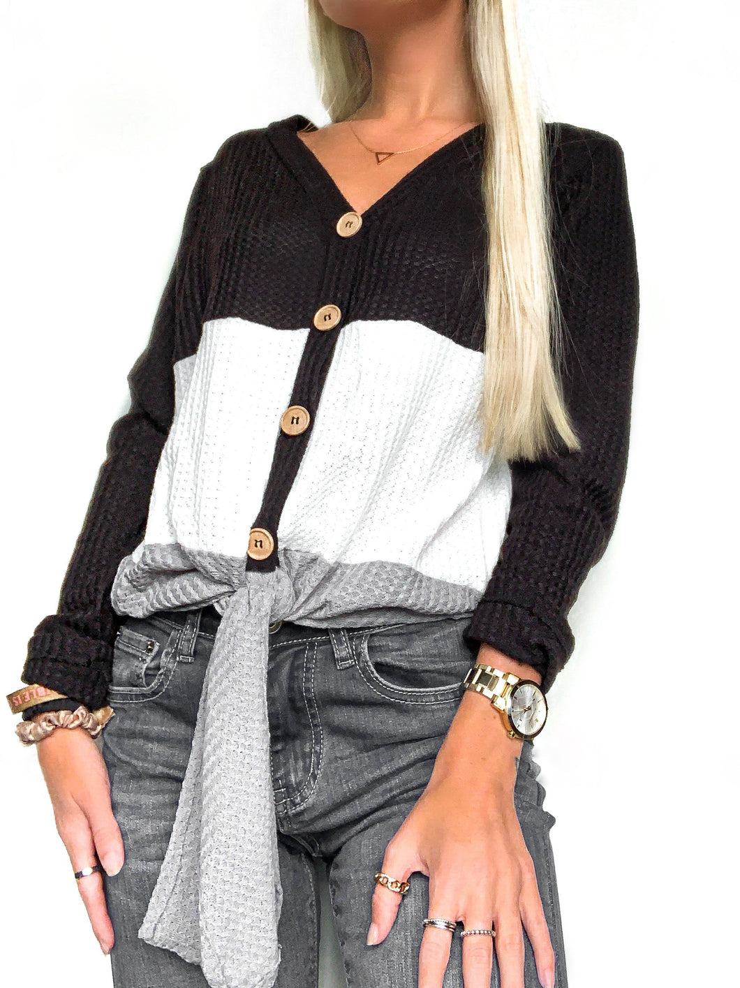 Color Block Waffle Knit Long Sleeve