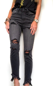 Black Frayed Ankle Jeans
