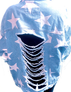 Star Distressed Denim Jacket