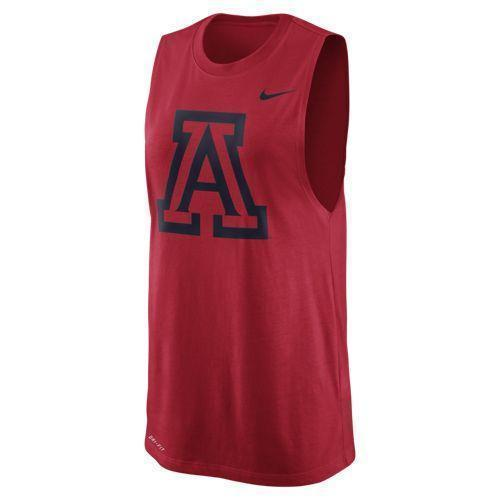 NCAA ARIZONA WILDCATS WOMEN'S MUSCLE LOGO NIKE DRY FIT TANK - RED