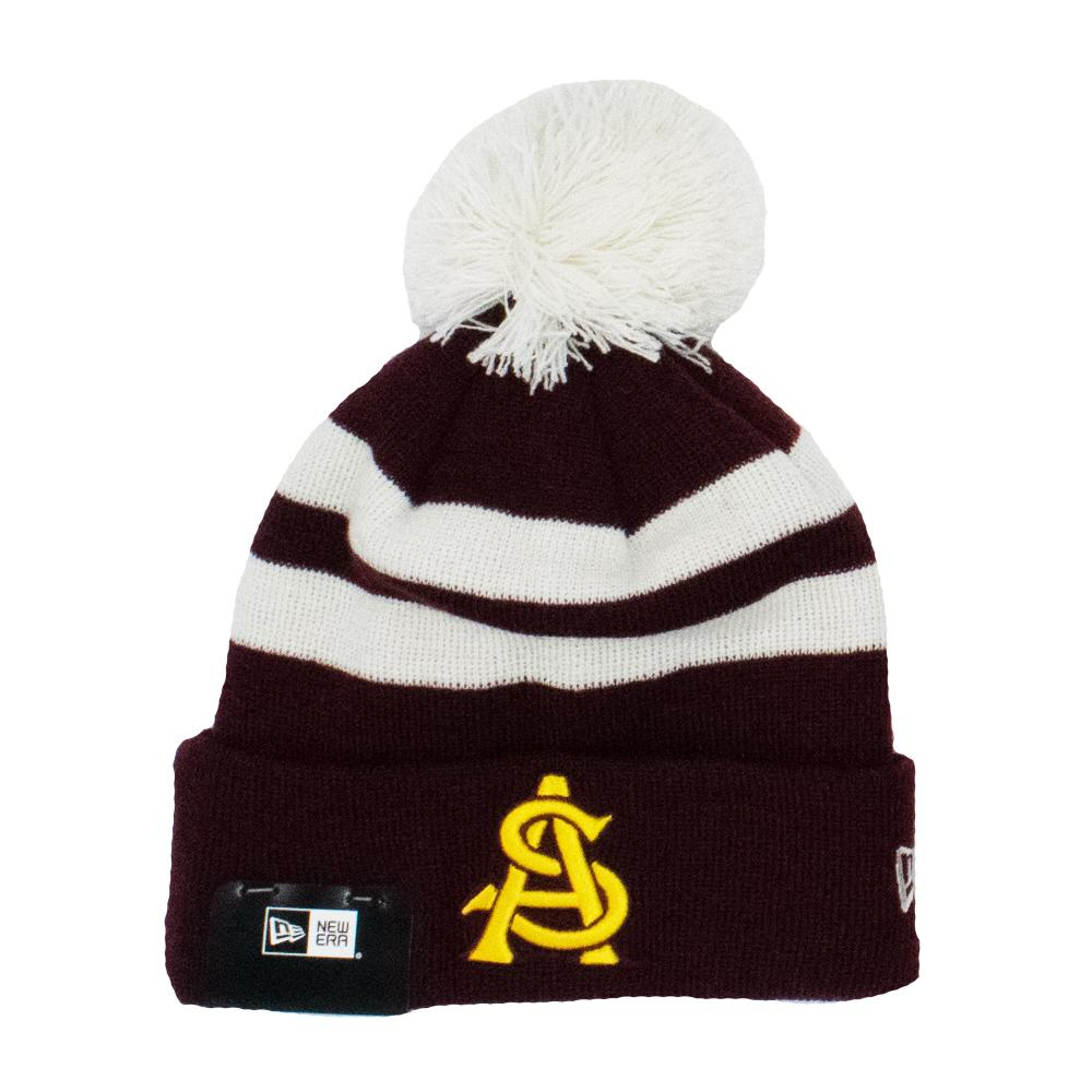 NCAA Arizona State Sun Devils New Era Ivory Stripe Knit - Maroon