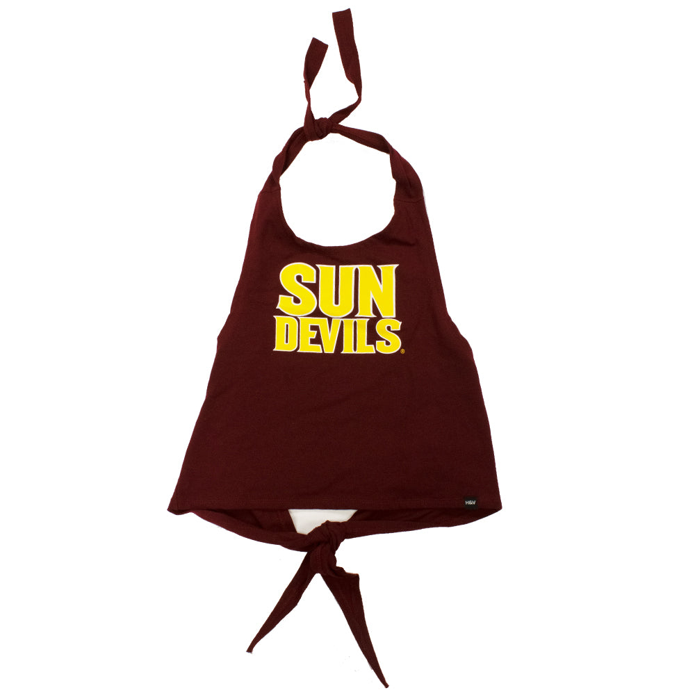 Arizona State Sun Devils Women's Hype & Vice Sun Devil Halter Wrap Top - Maroon