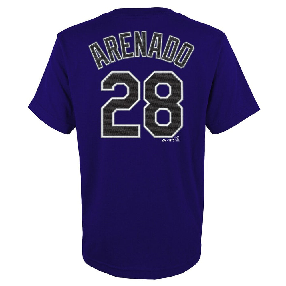 MLB Colorado Rockies Nolan Arenado Majestic Name & Number Tee - Purple