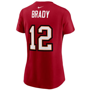 NFL Tampa Bay Buccaneers Tom Brady Women's Nike Super Bowl LV Name & Number Tee - Red