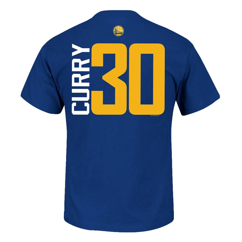 NBA Golden State Warriors Steph Curry Majestic Vertical Name and Number Tee - Blue