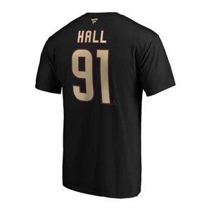 NHL Arizona Coyotes Taylor Hall Fanatics Alternate Authentic Stack Name & Number Tee - Black