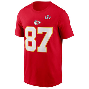 NFL Kansas City Chiefs Travis Kelce Nike Super Bowl LV Name & Number Tee - Red