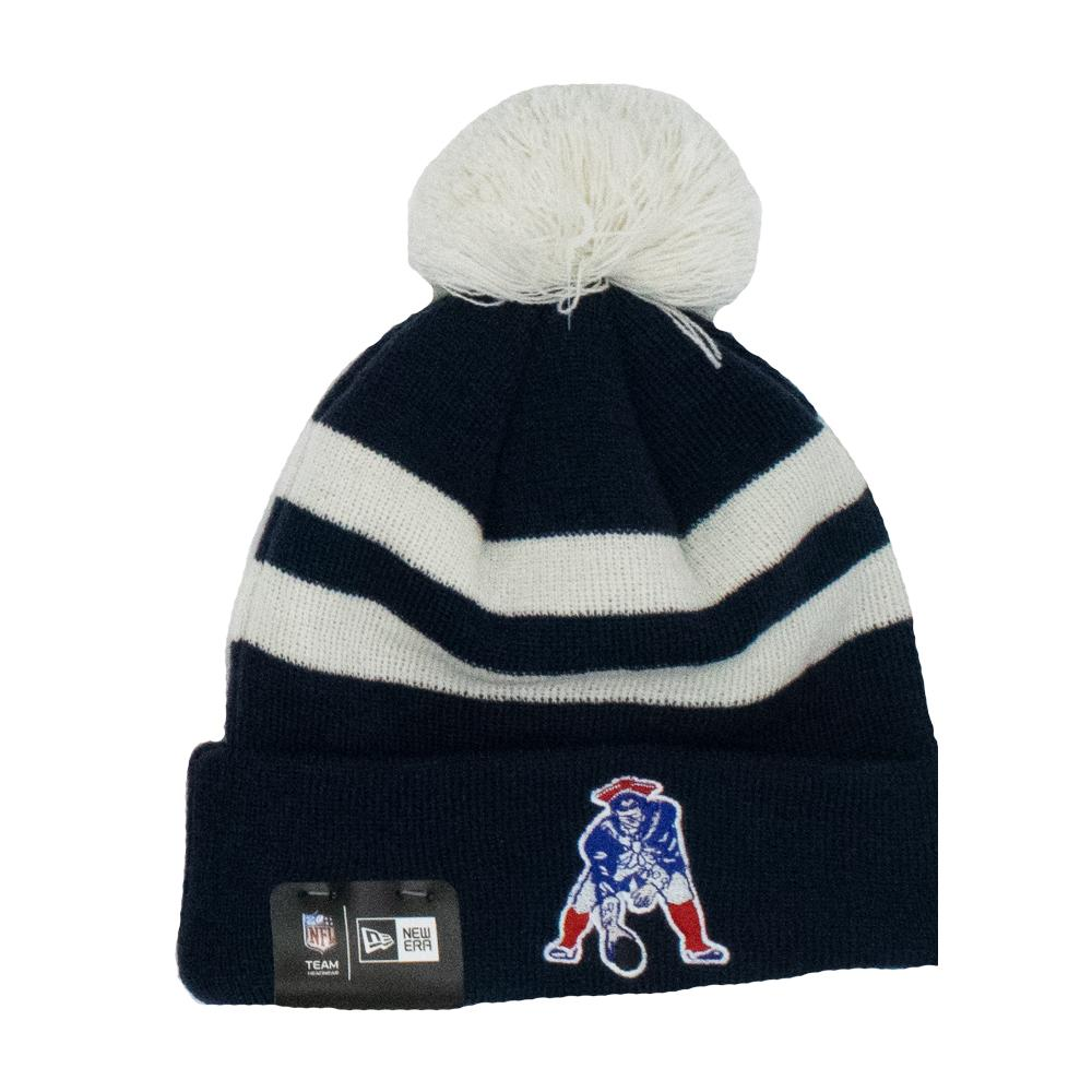 NFL New England Patriots New Era Ivory Stripe Knit - Navy