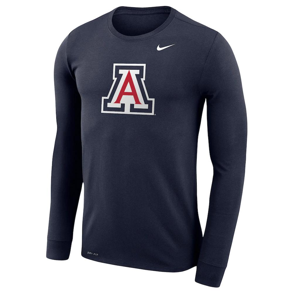 NCAA Arizona Wildcats Nike Dri-Fit Cotton Logo Long Sleeve Tee - Navy