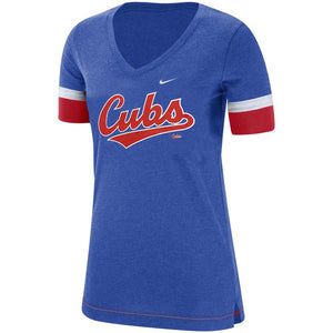 MLB Chicago Cubs Women's Nike Dri-Fit Mesh Sleeve Vneck - Blue