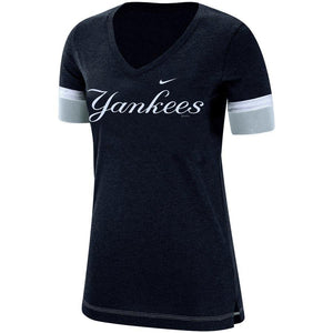MLB New York Yankees Women's Nike Dri-Fit Mesh Sleeve Vneck - Navy