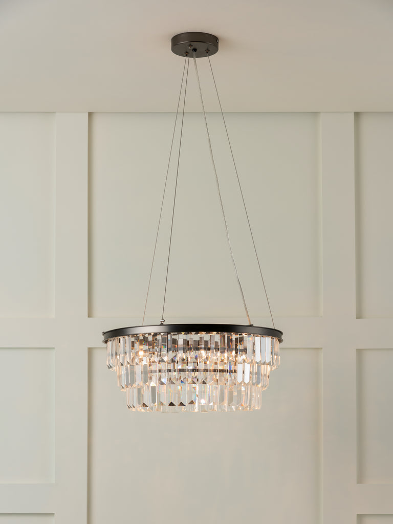 Alila - 5 light graphite silver tiered crystal glass chandelier