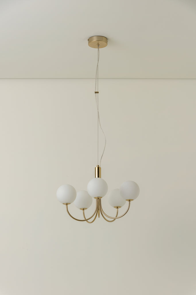 Allium - 5 light brass and opal pendant chandelier