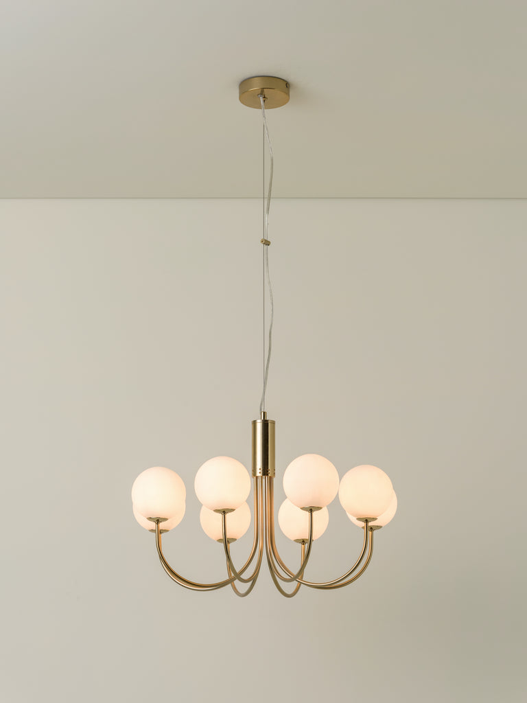 Allium - 8 light brass and opal pendant chandelier