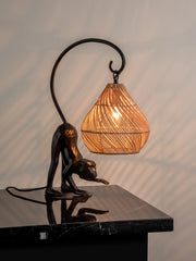 Bud - 1 light monkey table lamp with rattan shade - Lights & Lamps - Buy Lightsandlamps.com