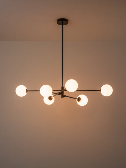 Chelso - 6 light matt black and opal pendant | Lights & Lamps | Lightsandlamps.com