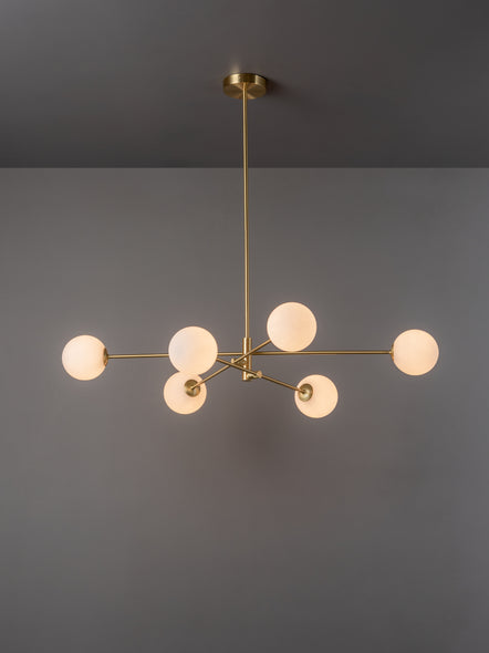 Chelso - 6 light brass and opal pendant | Lights & Lamps | Lightsandlamps.com